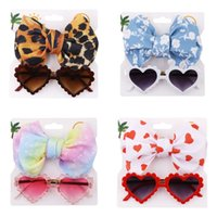 Baby Girls Sunglasses Hair Band Set Cartoon Heart Eyeglasses Anti-UV Sun Glasses Knot Bow Headband Fashion Kids Accessories 8 Colors 3277 Q2