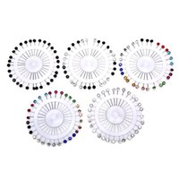 Pins, Brooches QrhYK 30pcs set Crystal Diamante Wheel Brooch Long Pins Sewing Snag For Wedding Hat Hijab Scarf