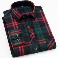 Chemise occasionnelle pour hommes Shirts Qisha Chemise à carreaux doux tissu brossé mâle affaires sociale Fit Slim confortable brandelle chèque