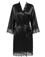 Women's Sleepwear Plus Size Lace Patchwork Bride Bridesmaids Robe Sexy Lingerie Women Silk Wedding Party Kimono Robes Nightgown Bathrob