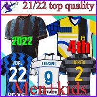 Inter 2021 Soccer Jersey Lukaku Milan Vidal Barella Lautaro Eriksen Alexis Hakimi 20 21 قميص كرة القدم زي الرجال + Kids Kit 4th الرابع