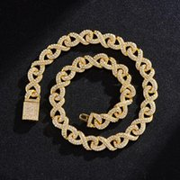 Chains 14mm 8 Number Shape Iced Out Cuban Link Chain Necklaces For Men Bracelet Trendy Charm Jewelry Set Hip Hop Luxury Choker