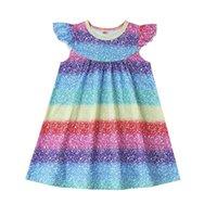 Девушка платья для девочек малыш девушка одежда творческие радуги звезды шаблон рукав летняя младенческая повседневная одежда от 3 м до 24 м
