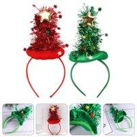 Noel Süslemeleri 2 adet Ağaç Şekli Tasarım Headdress Bandı Saç Hoop (Kırmızı Yeşil)