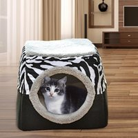 Cat Beds & Furniture Comfortable Foldable Kitten Nest Sleeping Bed Large Interior Appearance Winter Warm Cozy Soft Pet Accessory