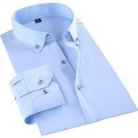Случайные мужские платья рубашка с длинным рукавом мода бизнес алмазные кнопки формальные стройные фигурные офисные рабочие Paolo SiRum 210329