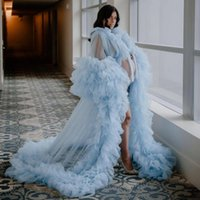 Ligh Blue Prom Dress for Pregnant Women Fluffy Ruffles Robe Long Party Gowns Photography Sexy Maternity Nightgowns
