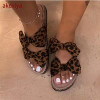 Akexiya bow leopard Женщины тапочка Летняя Открытая Носок Платформа Слайд Дамы Мода Полая Света на сандалиях Женщина Обувь