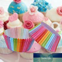100ピースケーキカップケーキベーキング型レインボーペーパーベークカップケーキトレイ使い捨てカップケーキスタンドデザートトレイパーティーキッチンツール
