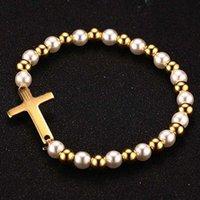 VNOX жемчужный браслет из бисера для женщин Библия крест золотой цвет нержавеющая сталь женские ювелирные изделия