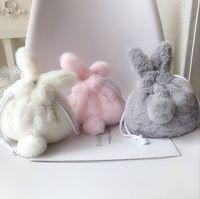 حقائب اليد حقيبة تخزين لطيف أفخم الأرنب جيب أشتات التجميل الرباط حقيبة الهاتف المحمول فتاة