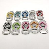 100st Customizable Flip Flop Flasköppnare med Mix Color Party Supplies Metal Sandal Beer Opener Personliga Bröllop Favoriter