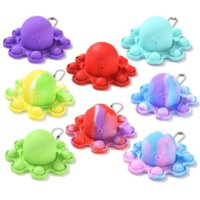 Luminous Keychain Stress Relief Squishy Fidget Toys Octopus Push Bubble Fidget Sensory Toy For Autism Special DHL Shipping
