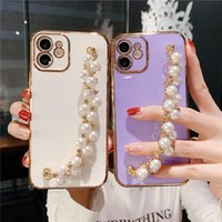 Bolsas de telefone celular chapeamento de moda pérola pulseira pulseira macia para 11 12 pro x r xs max 7 8 mais 12mini se cadeia capa mulheres coqu