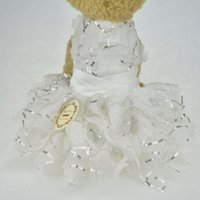 Dog Apparel Bling White Lace Puppy Luxury Dress Pet Cat Tutu Skirt Princess Wedding Chihuahua Clothes Bride Costume