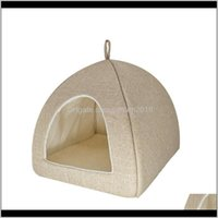 Supplies Home Garden Delivery 2021 Drop Foldable 2-In-1 Cat Bed Indoor Kitten Tent House Warm For Small Pet Pad Dog Nest Cave Sleeping Cozy P