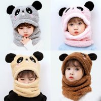 قبعات الأطفال الأولاد التصوير الفتيات زائد الصوف كاب الباندا آذان الاشياء للأطفال 2021 الشتاء الدافئ وشاح مجموعة الوليد الطفل الاشياء