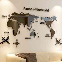الإبداعية العالم خريطة الاكريليك الزخرفية 3d لغرفة المعيشة مكتب 5 أحجام diy الجدار ملصق ديكور المنزل 210414