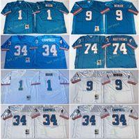 Vintage TEMESSEE Oiler Football Jerseys 1 Warren Moon 34 Earl Campbell 9 Steve McNair 74 Bruce Matthews Blue genäht Fußball Jersey Herren