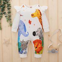 Jumpsuits Floral Elk Print Romper Jumpsuit Baby Infant Boys Girls Long Sleeve Cartoon Cotton Sets Ubranka Dla Niemowlat