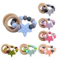 Baby Chupets Natural Wooden Silicone Beads Teether Infantil Alimentación Estrella Dientes recién nacidos Practicar Juguetes