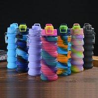DHL Creative Camouflage Бутылка для воды Силиконовые Складки Телескопический Тумблер Карабин Спортивные напитки Чашки Портативные Пешие походы Оборудование для кемпинга 500 мл