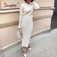 Simplee zarif şerit iki parça elbise beyaz yuvarlak boyun örgü elbise yüksek bel sokak tarzı sonbahar kış elbise iki parça set
