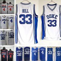 Uomini NCAA Duke Blue Devils Jerseys 4 JJ Redick 33 Grant Hill 32 Christian Laettner Bianco tutto Stitched College Baskey Jersey
