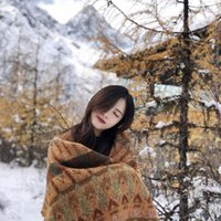 Blankets Travel Blanket Women's Ethnic Style Shawl Women Autumn And Winter Wear Thick Warmth Tassel Scarf Dual-use