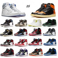 AJ1 Hombre Jumpman OG 1S Travis Scotts Zapatos de baloncesto Chicago Mujeres Obsidian Lakers UNC Mid Royal Toe Negro Metallic Gris Pine Pine Green Irness