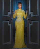 Aso Ebi 2022 Arabic Yellow Luxurious Sheath Evening Dresses Beaded Crystals Long Sleeves Formal Party Second Reception Gowns