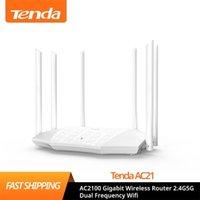 Tenda AC21 AC2100 라우터 기가비트 2.4G 5.0GHz 듀얼 밴드 2033Mbps 무선 WiFi 중계기 6 고 이득 안테나 210918