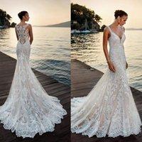 New Ivory Deep V Neck Mermaid Wedding Dress Full Lace Appliques Sheer Back Boho Summer Beach Mermaid Wedding Bridal Gowns Robe De