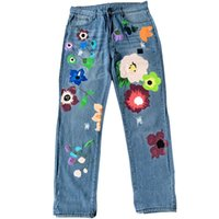 Women's Jeans Women Wide Leg Jeans, High Waist Floral Print Loose Denim Pants With Ripped Holes