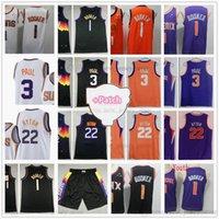 2021 Finaller Yama Valley City 1 Devin 3 Chris Booker Paul Basketbol Formalar Dikişli Deandre 22 Ayton Jersey Beyaz Mor Siyah Adam Şort Gençlik Çocuk Boyutu S-XXL