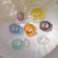Vintage Resin Ring Set Korea Spring Colorful Crystal Beads Resin Rings for Women Party Jewelry Gifts