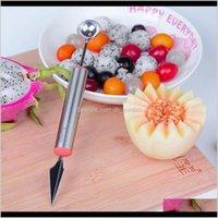 야채 도구 조각 나이프 스테인레스 스틸 과일 장치 다기능 수박 파고 숟가락 f4ekj hpcbm