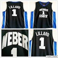 NCAA Weber State Damian 0 Lillard College Basketbol Jersey Navy Blue Mens # 0 Damian Lillard Shirts Üniversitesi Dikişli Formalar