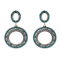 Stud Exaggerated Hoop-shaped Crystal Beads Big Earrings For Women Girls Cute Fashion Wedding Jewelry