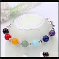 Jewelrywomen Bracelet Yoga Reiki Healing Balance Chakra Stone Beads Charm Bracelets Jewelry Drop Delivery 2021 82Qvz
