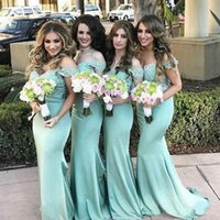 2022 Green Bridesmaid Dresses Mermaid Custom Made African Off the Shoulder Lace Applique Plus Size Floor Length Maid of Honor Gown Country Wedding Guest vestidos