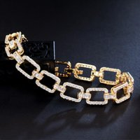 Link, Chain CWWZircons Bling Micro Pave Cubic Zirconia Stone Yellow Gold Color Cuban Link Bracelet For Women Trendy Jewelry CB278