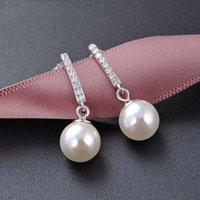 Zircon Pearl Earrings Accessories S925 Silver Earrings Women Fashion Retro Pearl Earrings