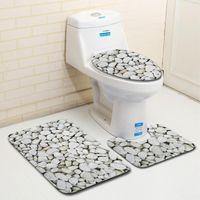 Bath Mats 3 Piece Set Stone Printing Mat Anti Slip Carpet Doormat Bathroom Cover Toilet Seat Rug Accessories For