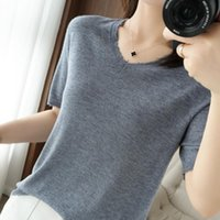 Women's T-Shirt 2021 Summer Cashmere Short-Sleeved Fashion Solid Color V-Neck Loose Wild Short Wool Worsted Knitted Thin Top
