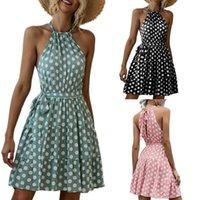 Vestidos casual kleider halber neck dress punkt druck mini strand style sommerkleid frauen sleeveless sommer