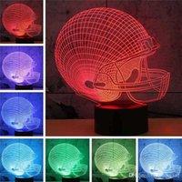 Home Decorazione interna Decorazione Calcio Cap 3D Creativo Colorato Colorato LED Night Light USB Novel Illuminazione Semplice Lampada da tavolo