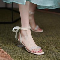Sandals Fairy Niche French Mid-heel Pearl Strap Female Thick Heel 2021 Summer Transparent Word With Crystal High Heels