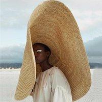 Sombreros de ala ancha Gorras de mujer Moda de gran tamaño Anti-UV Sombrero de protección solar cubierta de paja cubierta Playa plegable Sombrilla