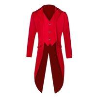 Homens agradáveis Vintage Long Blazer Jackets punk retro smoking casamento blazers casaco plus size outono moda sólido clube windbreaker homens ternos